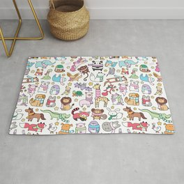Winter Animals with Scarves Doodle Rug