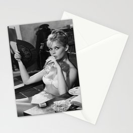 Brigitte Bardot Drinking and Smoking a Cigarette black and white photography / art photograph Stationery Cards