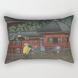 Hasui Kawase, Rain In Nikko, Futatsudo - Vintage Japanese Woodblock Print Art Rectangular Pillow