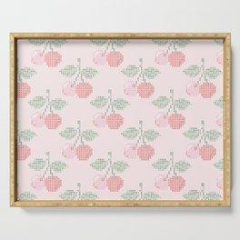 Cherry Cross Stitch Pattern on pink Serving Tray