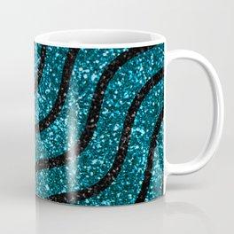 Blue Sparkle Glitter Metallic Glamorous Wavy Pattern Coffee Mug