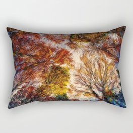 Forest Trees Branches Painting Nature Artwork Rectangular Pillow