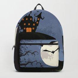Halloween Spooky Scary House Moon Bats Pumpkin Trees Backpack