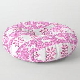 Watercolor Fair Isle in Pink Floor Pillow