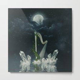 Wonderful harp and swan in the ocean  Metal Print