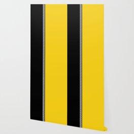 Greek Key 2 - Yellow and Black Wallpaper