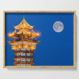 JiuTian tower and moon in Chengdu Serving Tray