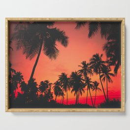 Tropical Palm Tree Sunset Serving Tray