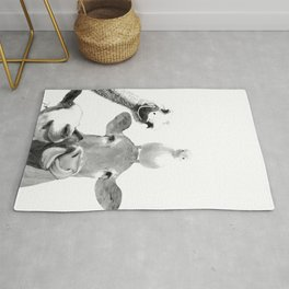 Black and White Farm Animal Friends Rug