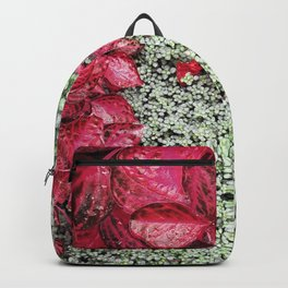 Pink Leaves on Green Carpet Backpack