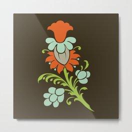 Paisley to Flower Metal Print
