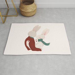 Couple of rabbits in love Rug