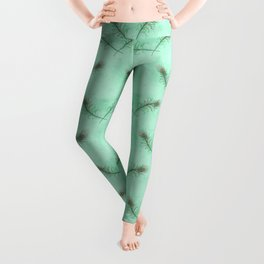 Green Double Peacock Feather Pattern Leggings