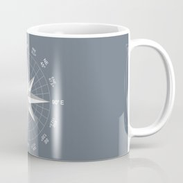Compass in White on Slate Grey color Coffee Mug
