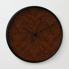 Dark Chocolate Damask Line Work Fleur de Lis Pattern Artwork Wall Clock