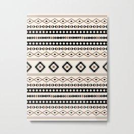 Aztec Teal Black Brown Cream Mixed Motifs Pattern Metal Print