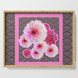 GREY & PINK PATTERNED FUCHSIA CERISE-WHITE DAHLIAS Serving Tray