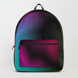 Neon space sparkling lightning from light blue zigzags and dark spots. Backpack