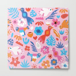 Colorful Tropical Birds Flowers Fruit Blue Pink Red White Kids Pattern Metal Print