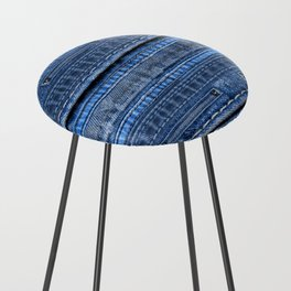 Cool Blue Jeans Denim Patchwork Design Counter Stool