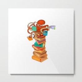 Reading Octopus Tea Coffee Book Lover Bookworm Reader Funny T-Shirt Metal Print