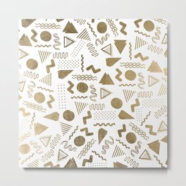 Retro abstract geometrical faux gold white 80'spattern Metal Print