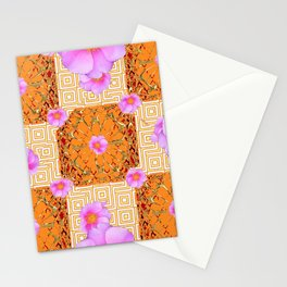 Quilted Style Fuchsia Pink Wild Rose Orange Pattern Abstract Stationery Cards