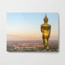 Golden glow on walking Buddha - sunset Thailand Fine Art Prints Metal Print