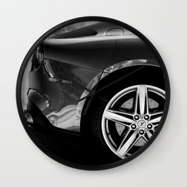 Super Car // Sexy Wheel Base Low Rims Dark Charcol Gray Black and White Wall Clock