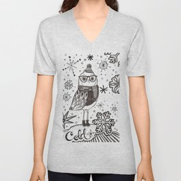 Cold Winter Owl Unisex V-Neck