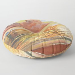 Mother and Daughter sunset seascape Floor Pillow