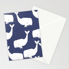 Whale Blue Waves Stationery Cards