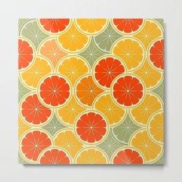 Summer Citrus Slices Metal Print