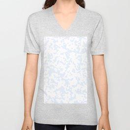 Spots - White and Pastel Blue Unisex V-Neck