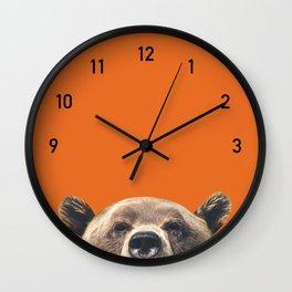 Bear Clock Orange Black Wall Clock