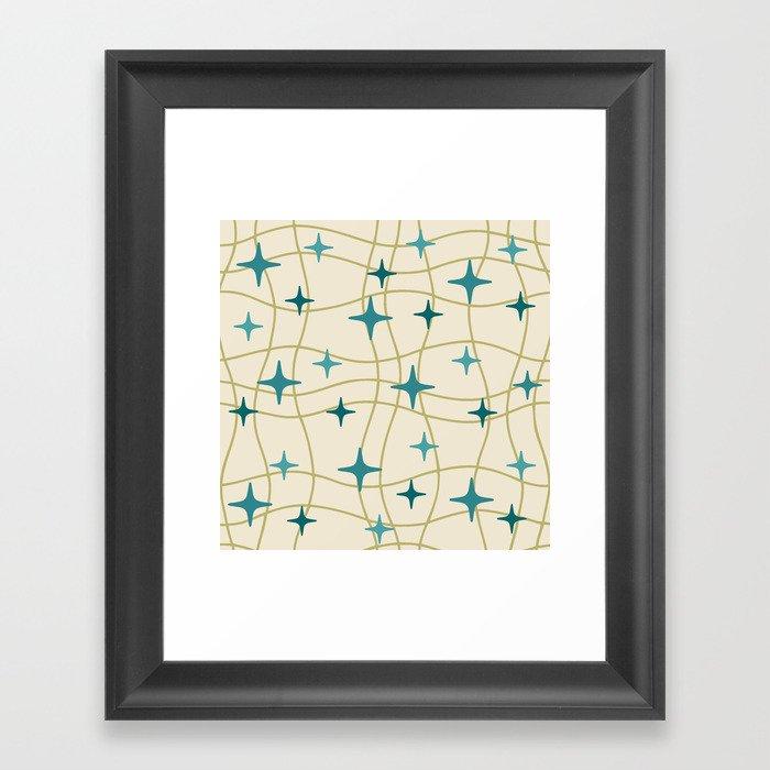Mid Century Modern Cosmic Star Pattern 693 Cream Turquoise Olive Gerahmter Kunstdruck