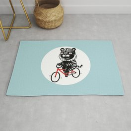 Black Tiger and Bicycle (It's hard to pedal because his legs are not long enough) Rug