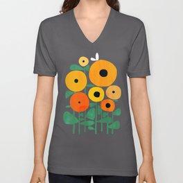 Sunflower and Bee Unisex V-Ausschnitt