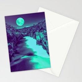 Full Moon over Huka River Falls - teal grunge artwork Stationery Cards