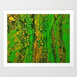 Abstract Acrylic Pour Art - Lime Art Print