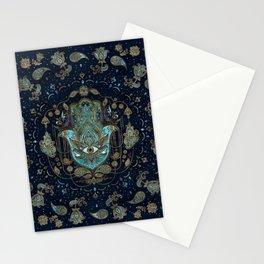Hamsa Hand -Hand of Fatima Blue Gemstones Stationery Cards