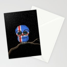 Baby Owl with Glasses and Icelandic Flag Stationery Cards