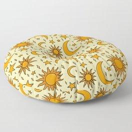 Vintage Sun and Star Print Floor Pillow