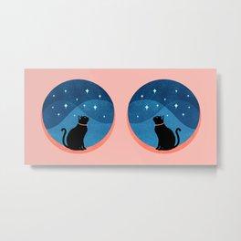 Abstraction_CAT_NIGHT_SKY_STARS_Minimalism_001 Metal Print