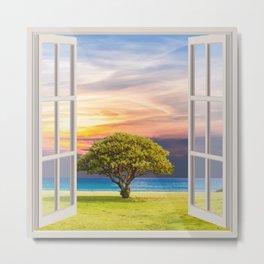 Seashore View   OPEN WINDOW ART Metal Print