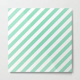 Diagonal Stripes (Mint & White Pattern) Metal Print