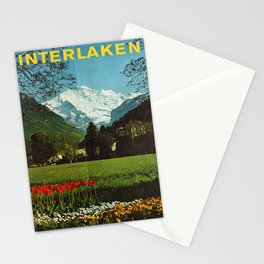 Affiche Travel Poster Interlaken Jungfrau OMB Switzerland Stationery Cards