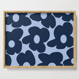 Large Dark Blue Retro Flowers Baby Blue Background #decor #society6 #buyart Serving Tray