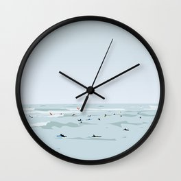 Tiny Surfers in Lima Illustrated Wall Clock