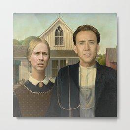 American Gothic Nicholas Cage Face Swap Metal Print